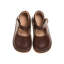 Girl Leather Squeaky Mary Jane Shoes Solid BROWN Toddler size 1-7