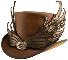 Steampunk Masquerade Wings leather hat with band brown