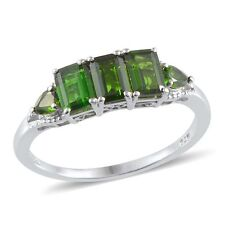 Russian CHROME DIOPSIDE Band Style RING in Platinum / Sterling Silver 1.85 Cts.