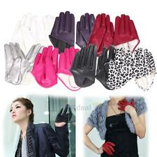 XD#3 Womens Tight Half Palm Gloves Imitation Leather Five Finger Mittens Vivid