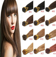 Straight 100% Remy Human Hair Extensions Pre Bonded Fusion Stick I Tip 1g 50s