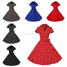 Vintage Women Polka Dot Dress Cocktail Party Pinup Swing Dress Rockabilly Dress