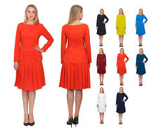 MARYCRAFTS WOMENS CHURCH OFFICE BUSINESS SKIRT SUITS FORMAL SUIT W LONG SLEEVES