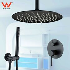Matt Black Thin Rain Shower Head Set+Handheld Spray+Ceiling Arm+Mixer Diverter