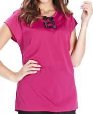 Simply Be Plus Size 22 24 Hot Pink Black Cap Sleeve Blouse Tunic Top BNWT