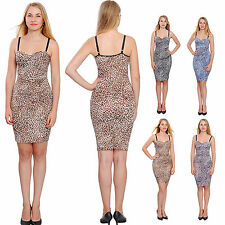 WOMENS BODYCON BUSTIER MINI DRESS LEOPARD COCKTAIL EVENING PARTY CLUB DRESSES