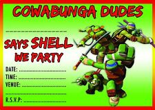 TEENAGE MUTANT NINJA TURTLES BIRTHDAY PARTY INVITATIONS INVITES ENVELOPES TMNT