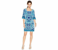 New NWT Womens Dress 4 Small 3/4 Sleeve Pullover Shift Blue Paisley ECI $59 Z407