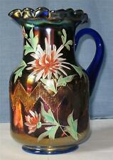 "FENTON ENAMELED ""CHRYSANTHEMUM"" BLUE CARNIVAL GLASS WATER PITCHER"