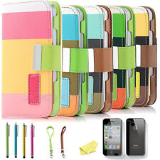 PU Leather Wallet Card Holder Magnetic Flip Color Case Cover For iPhone 6S/6