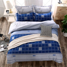 Cool Blue Square Single Double King Size Bed Set Pillowcases Quilt Duvet Cover