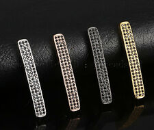 3 Row Cubic Zirconia Pave Gemstone Curved Bar Bracelet Connector Charm Beads