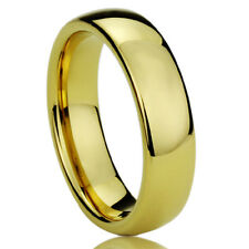Men Women  Engraving 6MM Titanium Wedding Band Ring Gold Tone Classy Domed