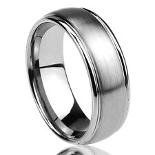 Personalized Engraving 8MM Titanium Wedding Band Ring Brushed Center Domed Ring