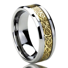 Men Women  Engraving 8MM Titanium Wedding Band Ring Gold Tone Celtic Dragon
