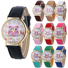 Fashion Women Watch Owl Pattern Flower Leather Band Analog Quartz Wrist Watches