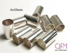 Crimp Beads Tube Spacer 6x10mm Sterling Silver 925 WHOLESALE