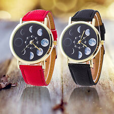 Unisex Moon Phase Astronomy Space Watch Faux Leather Quartz Wrist Watch Engaging