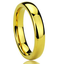 Men Women  Engraving 4MM Surgical Stainless Steel Gold Tone Wedding Band Ring