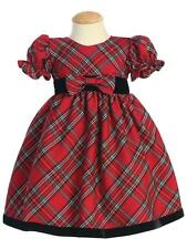 Red Plaid Christmas Holiday Toddler Dress with Black Velvet Trim NWT Lito