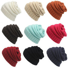 Women Beret Beanie Hat Braided Baggy Knit Crochet Ski Cap Winter Warm Skull Cute