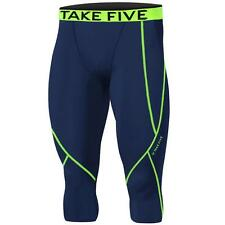 New Mens Baselayer Navy Neon 3/4 Capri Pants Armour Compression Tights Trousers