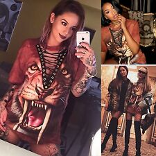 Cool Women Sexy Tigers Print V Neck Shirt Jumper Halloween Clubwear Mini Dress