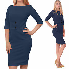 BLUE CLASSY WORK OFFICE WIGGLE PENCIL DRESS Classic VINTAGE 1950S 1960S DRESSES