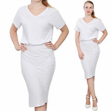 WHITE WOMENS ELEGANT DOLMAN SHORT SLEEVE BLOUSON MIDI DAY EVENING TEA DRESS
