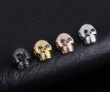 Cubic Zirconia Pave Horizontal Drilled Skull Bracelet Connector Charm Beads