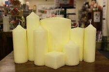 Church Candles - Pillar or Square High Quality Long Burning Various Sizes Ivory