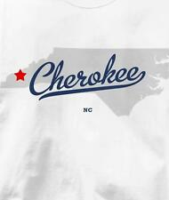 Cherokee, North Carolina NC MAP Souvenir T Shirt All Sizes & Colors