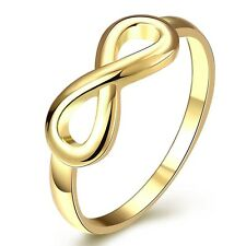 Fashion Jewelry 18k Yellow Gold Filled Womens Unique Rings CZ Wedding Gift NEW