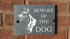 "BEWARE OF THE DOG DOBERMAN NATURAL SLATE 8"" X 6"" HOUSE DOOR GATE PLAQUE SIGN"