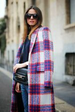 ZARA WOOL RED BLUE CHECKED LONG COAT JACKET SIZE:  M