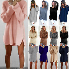 New Womens Long Sleeve Jumper Long Tops Knitted Sweater Loose Mini Dress Blouse