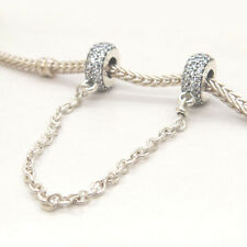 NEW Authentic S925 Sterling Silver Pavé Inspiration Safety Chain Clear CZ Charm
