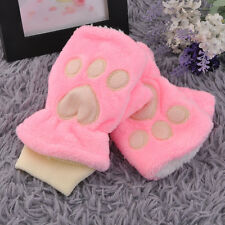 Korean Fashion Cute Girls Winter Cat's Claw Paw Women Plush Half Finger Gloves