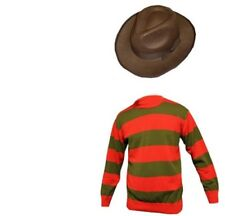 Mens Freddy Krueger Halloween Horror Fancy Dress Hat, Jumper & Glove Claw Set