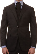 Sartoria PARTENOPEA Hand Made Gray Plaid Wool Super 120'S Flannel Suit NEW