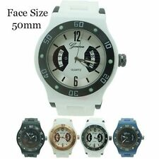 Mens Geneva Round Designer Silicone Watch 50mm USA Seller