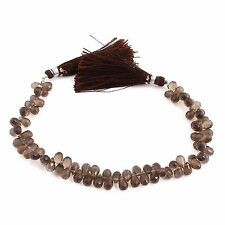 "1Strand AAA Quality Smokey Quartz Faceted Tear Drop Briolettes 7x4-9x5mm 7"" PB62"