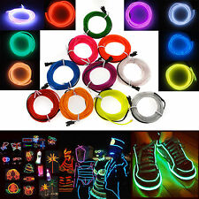 2/3/4/5M Led Flexible EL Wire Neon Glow Light + 3V/12V Controller Party Decor #1