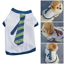Male Pet T Shirt  Clothes Puppy Dog Cat Vest T Shirt Tank Tie Print Apparel