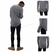 Men's Unisex Longline Striped Casual Long Sleeve Oversize Extend Tail T-Shirt