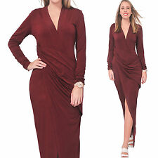 BURGUNDY WOMEN'S  LONG MAXI BODYCON SLIM DRESS EVENING PARTY COCKTAIL GOWN