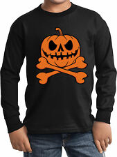 Kids Halloween Pumpkin Skeleton Long Sleeve T-Shirt