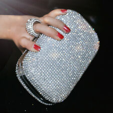 Ring Rhinestone Beaded Clutch Wedding Bride Party Prom Handbag Bag Evening Purse