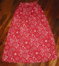 Vintage 70's High Waist Quilted Maxi Bandana Skirt Red Hippie Boho Disco XS S