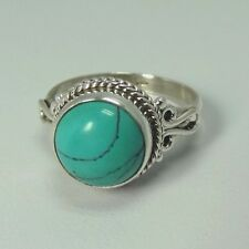 Solid 92.5 Sterling Silver Ring Natural Turquoise Gemstone US Size 4 to 13